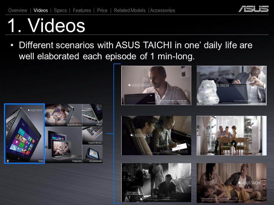 1. Videos Overview | Videos | Specs | Features | Price | Related Models | Accessories Different scenarios with ASUS TAICHI in one' daily life are well