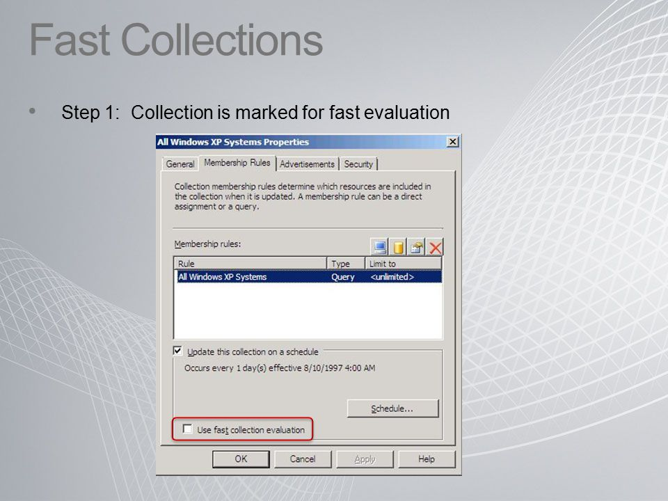 Fast Collections Step 1: Collection is marked for fast evaluation
