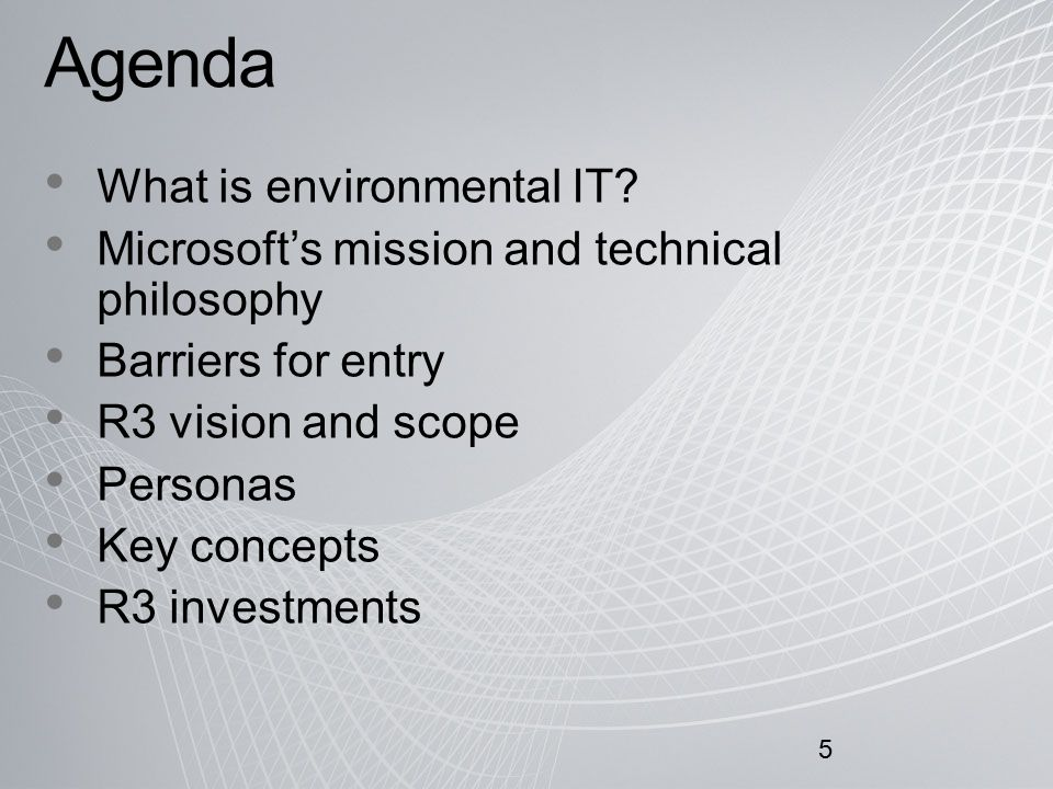 Agenda What is environmental IT.
