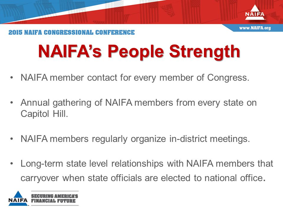 MemberChamberPartyStateIndustry Connection Thom TillisSenateRNCProvident Insurance Staff Walter JonesHouseRNCAgent Adrian SmithHouseRNEFather State Farm Agent & NAIFA Member Frank GuintaHouseRNHAgent Donald NorcrossHouseDNJBrother owns an insurance agency Donald PayneHouseDNJFather Prudential Employee Tom MacArthurHouseRNJChairman & CEO York Risk Services Carolyn MaloneyHouseDNYFather Agent Sean Patrick MaloneyHouseDNYFather and Brother Agents Jim InhofeSenateROKInsurance Executive Mike DoyleHouseDPAAgent Scott PerryHouseRPAAgent Tim ScottSenateRSCAgent/NAIFA Member Mike RoundsSenateRSDInsurance Agency Owner Kristi NoemHouseRSDStaffer married to an agent Jim CooperHouseDTNSon Northwestern Mutual Kay GrangerHouseRTXAgent Gerry ConnollyHouseDVAFather MetLife Executive Randy ForbesHouseRVAFather debit agent for VA Ins Co Rob WhitmanHouseRVABrother-in-law agent