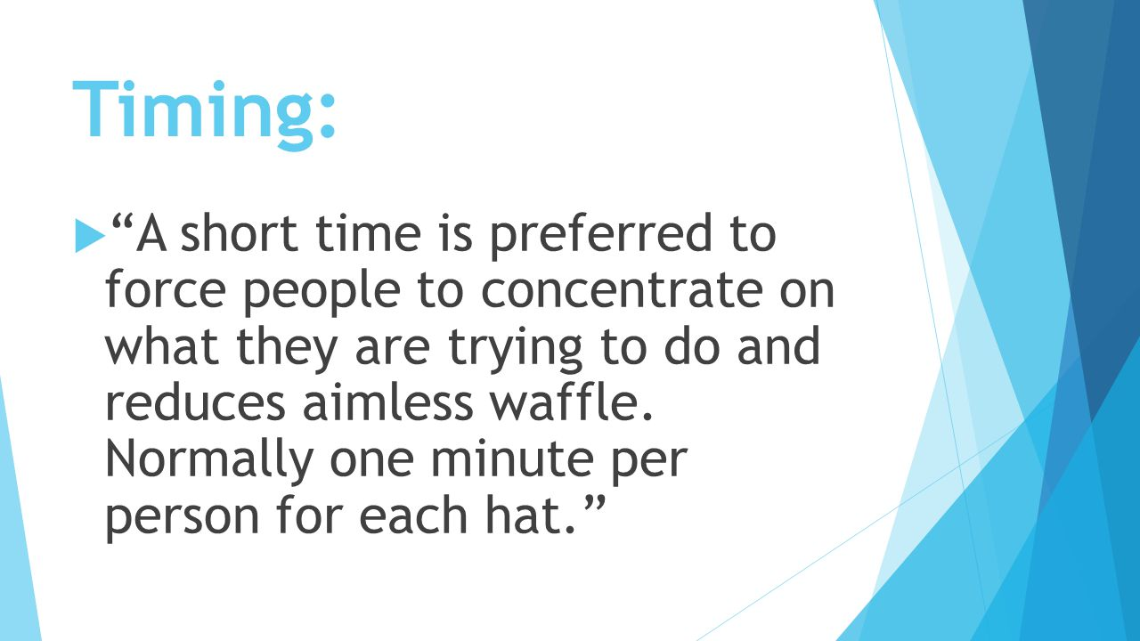 Timing:  A short time is preferred to force people to concentrate on what they are trying to do and reduces aimless waffle.