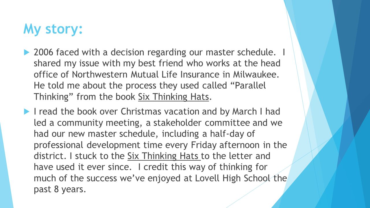 The final blue hat indicates:  What we have achieved,  Outcome,  Conclusion,  Design,  Solution, and  Next steps.