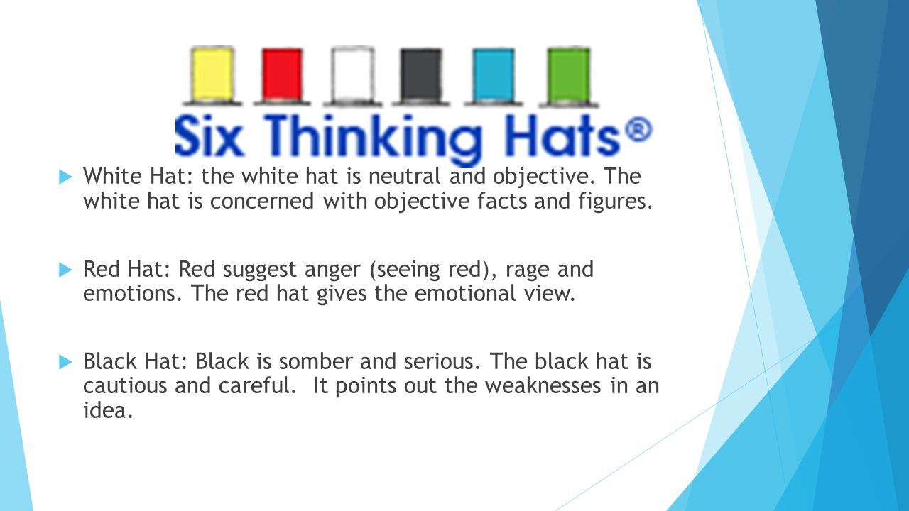  White Hat: the white hat is neutral and objective.