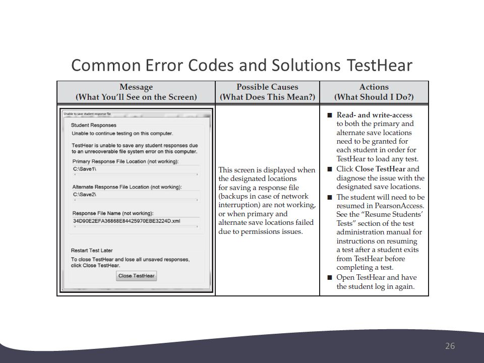 Common Error Codes and Solutions TestHear 27