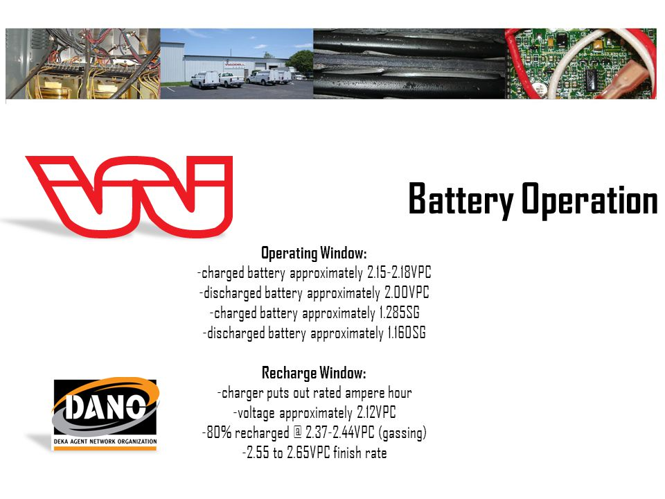 Battery Operation Operating Window: -charged battery approximately 2.15-2.18VPC -discharged battery approximately 2.00VPC -charged battery approximately 1.285SG -discharged battery approximately 1.160SG Recharge Window: -charger puts out rated ampere hour -voltage approximately 2.12VPC -80% recharged @ 2.37-2.44VPC (gassing) -2.55 to 2.65VPC finish rate