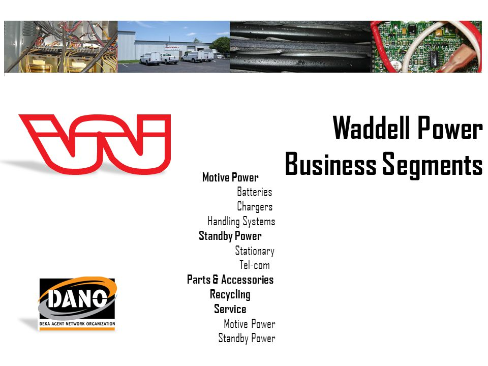 Waddell Power Business Segments Motive Power Batteries Chargers Handling Systems Standby Power Stationary Tel-com Parts & Accessories Recycling Service Motive Power Standby Power