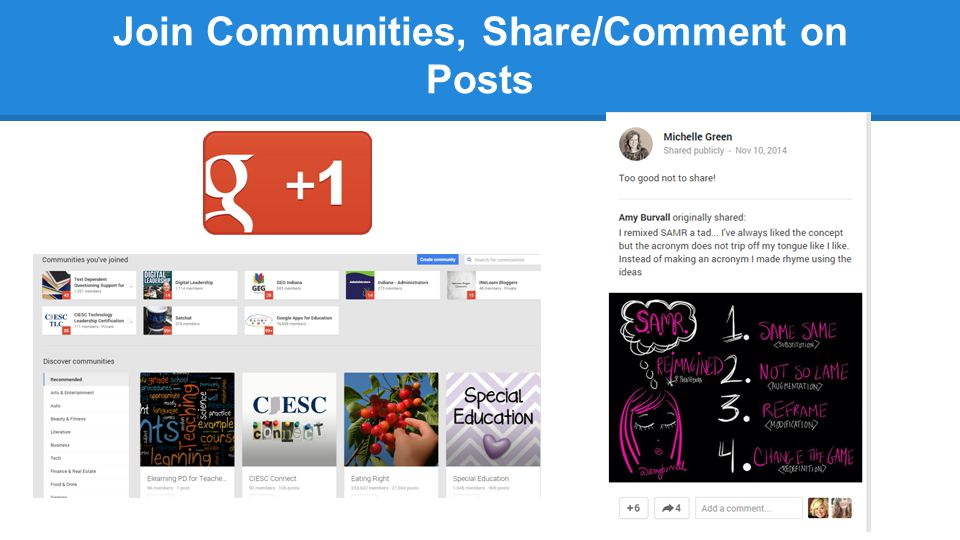 Join Communities, Share/Comment on Posts