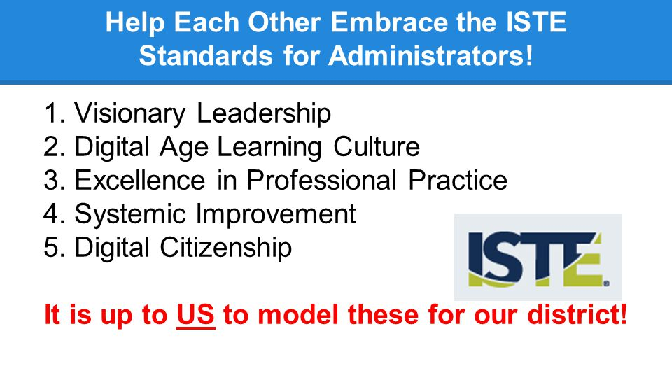 Help Each Other Embrace the ISTE Standards for Administrators! 1.Visionary Leadership 2.Digital Age Learning Culture 3.Excellence in Professional Prac