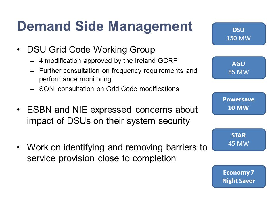 Demand Side Management DSU Grid Code Working Group –4 modification approved by the Ireland GCRP –Further consultation on frequency requirements and performance monitoring –SONI consultation on Grid Code modifications ESBN and NIE expressed concerns about impact of DSUs on their system security Work on identifying and removing barriers to service provision close to completion DSU 150 MW AGU 85 MW Powersave 10 MW STAR 45 MW Economy 7 Night Saver