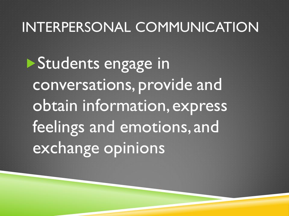 INTERPERSONAL COMMUNICATION  Students engage in conversations, provide and obtain information, express feelings and emotions, and exchange opinions