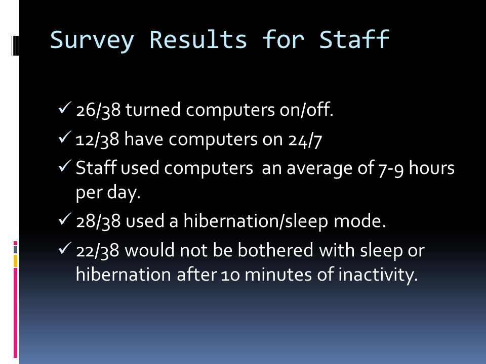 Survey Results for Staff 26/38 turned computers on/off.