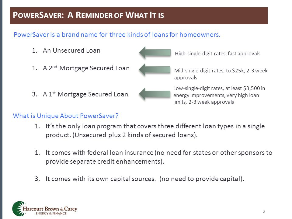 P OWER S AVER : A R EMINDER OF W HAT I T IS 2 PowerSaver is a brand name for three kinds of loans for homeowners. 1.An Unsecured Loan 1.A 2 nd Mortgag