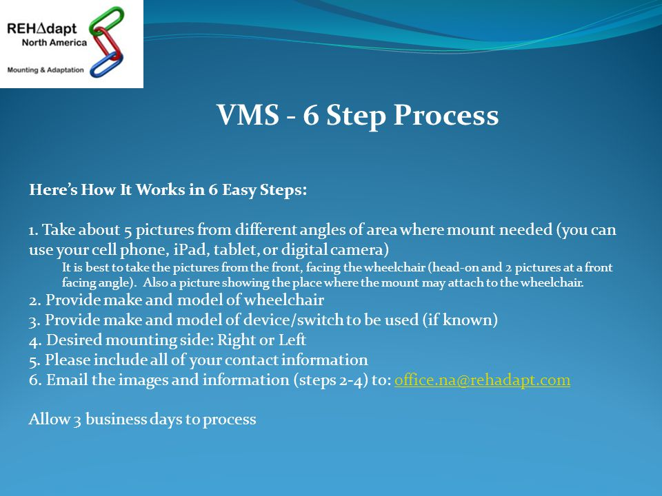 VMS - 6 Step Process Here's How It Works in 6 Easy Steps: 1.