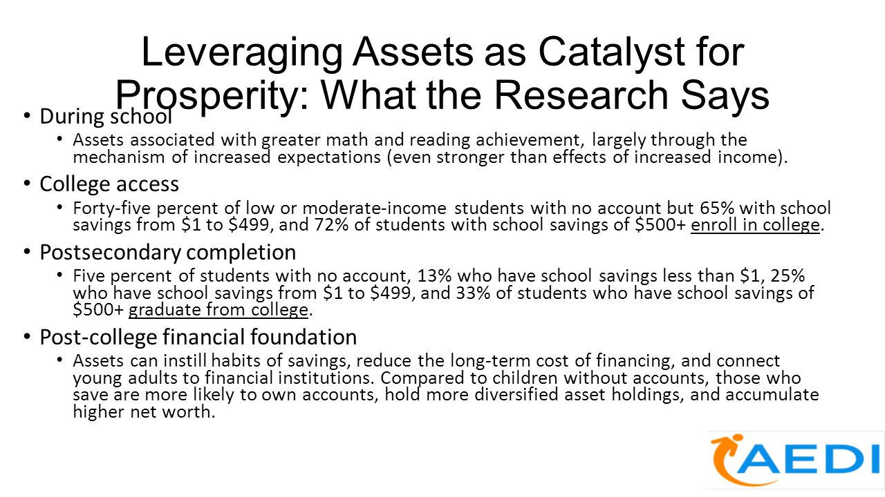 Leveraging Assets as Catalyst for Prosperity: What the Research Says During school Assets associated with greater math and reading achievement, largel