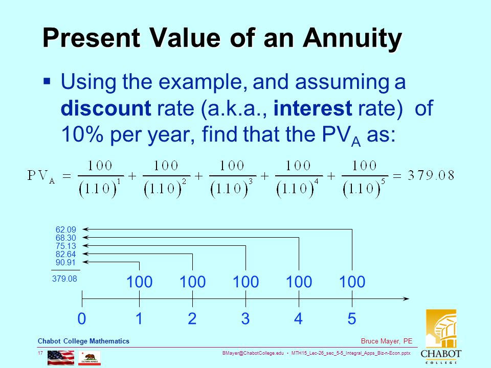 BMayer@ChabotCollege.edu MTH15_Lec-26_sec_5-5_Integral_Apps_Biz-n-Econ.pptx 17 Bruce Mayer, PE Chabot College Mathematics Present Value of an Annuity  Using the example, and assuming a discount rate (a.k.a., interest rate) of 10% per year, find that the PV A as: 012345 100 62.09 68.30 75.13 82.64 90.91 379.08