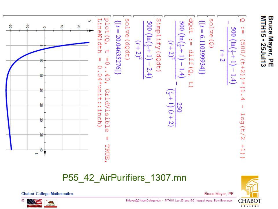 BMayer@ChabotCollege.edu MTH15_Lec-26_sec_5-5_Integral_Apps_Biz-n-Econ.pptx 52 Bruce Mayer, PE Chabot College Mathematics P55_42_AirPurifiers_1307.mn