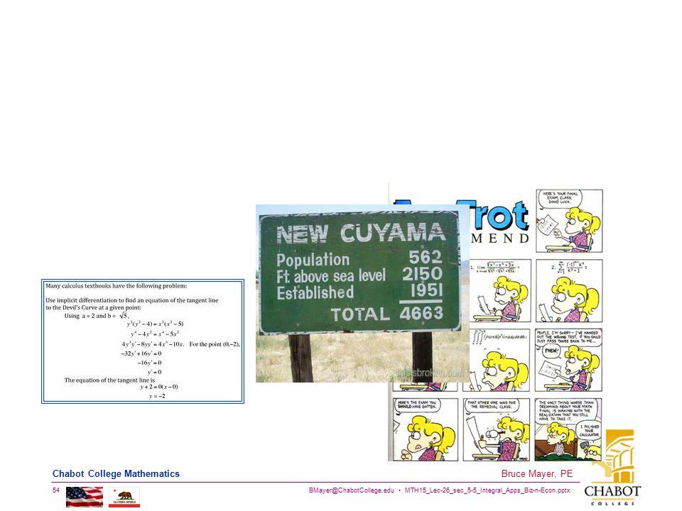 BMayer@ChabotCollege.edu MTH15_Lec-26_sec_5-5_Integral_Apps_Biz-n-Econ.pptx 54 Bruce Mayer, PE Chabot College Mathematics