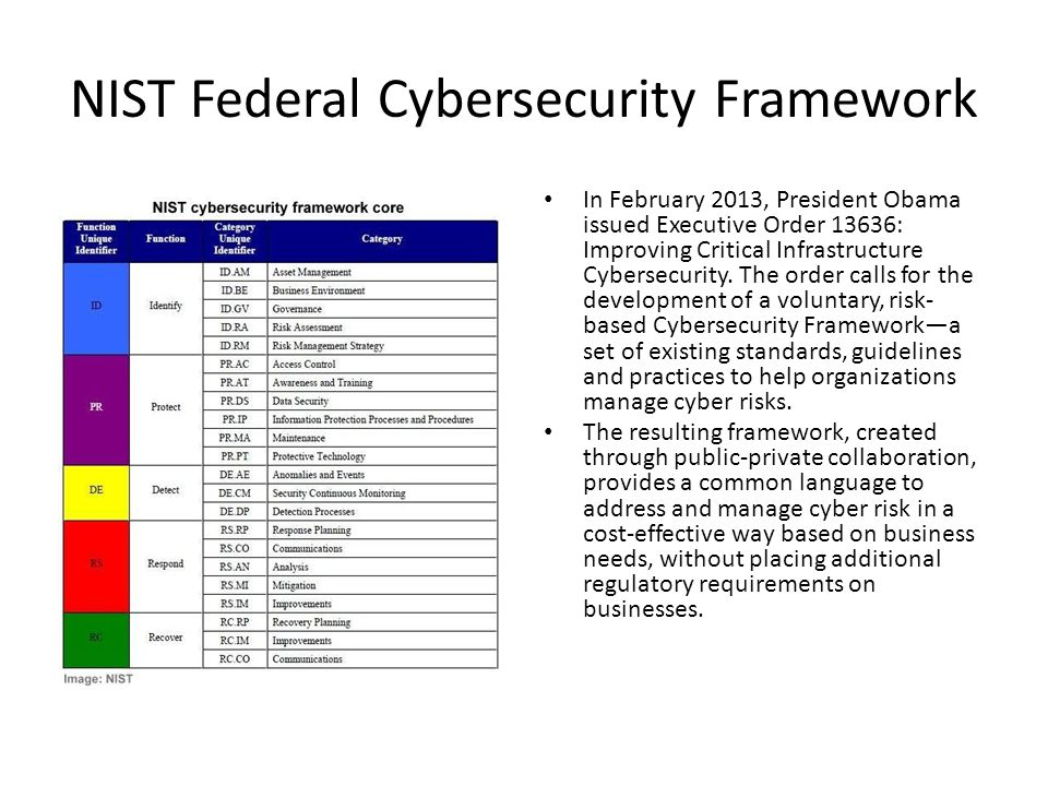 NIST Federal Cybersecurity Framework In February 2013, President Obama issued Executive Order 13636: Improving Critical Infrastructure Cybersecurity.