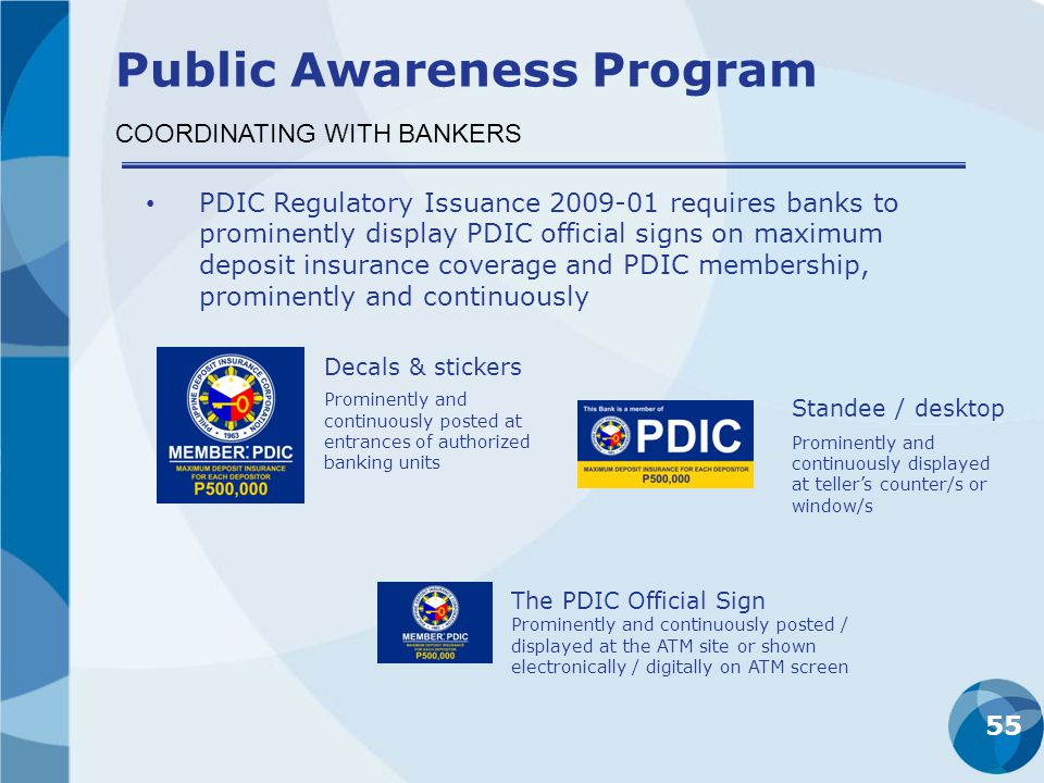 55 PDIC Regulatory Issuance 2009-01 requires banks to prominently display PDIC official signs on maximum deposit insurance coverage and PDIC membershi