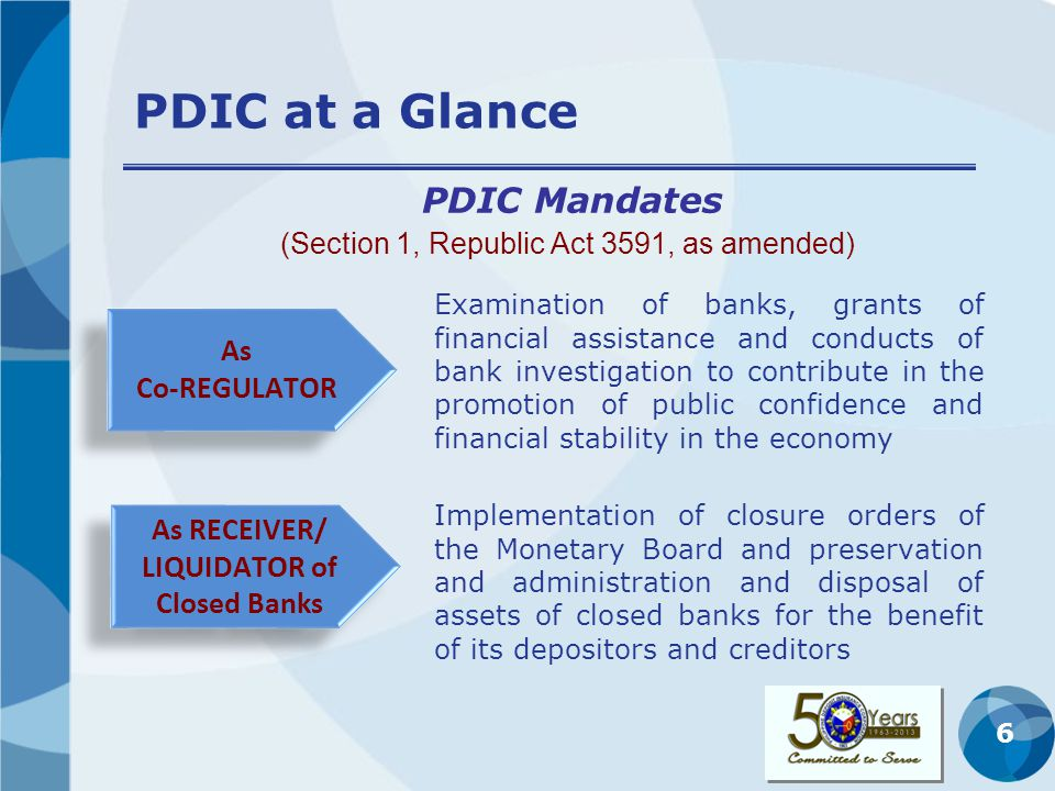 7 Overview of PDIC As Deposit Insurer (Sections 14 and 16, Republic Act 3591, as amended) To settle insurance claims of depositors in accordance with provision of the PDIC Charter Settlement of Claims xxx as soon as possible xxx or within 6 months (180 days) from date of filing except if the validity of the claim requires resolution of issues by another office/agency 2 years after bank takeover Filing of Claims Filing of Claims Enforcement of Claims 2 years after the 2-year period of filing of claims