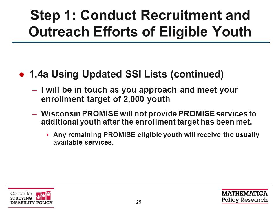 ●1.4a Using Updated SSI Lists (continued) –I will be in touch as you approach and meet your enrollment target of 2,000 youth –Wisconsin PROMISE will not provide PROMISE services to additional youth after the enrollment target has been met.