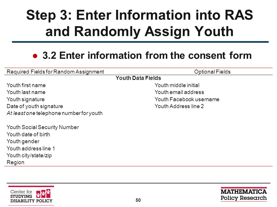 ●3.2 Enter information from the consent form Step 3: Enter Information into RAS and Randomly Assign Youth Required Fields for Random AssignmentOptional Fields Youth Data Fields Youth first nameYouth middle initial Youth last nameYouth email address Youth signatureYouth Facebook username Date of youth signatureYouth Address line 2 At least one telephone number for youth Youth Social Security Number Youth date of birth Youth gender Youth address line 1 Youth city/state/zip Region 50