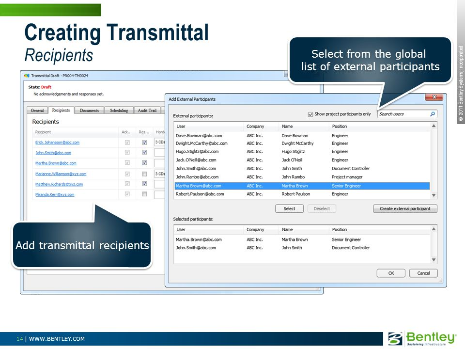 © 2011 Bentley Systems, Incorporated 14 | WWW.BENTLEY.COM Creating Transmittal Recipients Add transmittal recipients Select from the global list of external participants Select from the global list of external participants