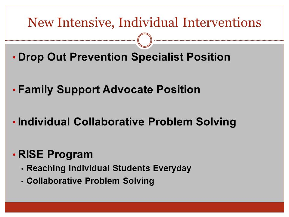 New Intensive, Individual Interventions Drop Out Prevention Specialist Position Family Support Advocate Position Individual Collaborative Problem Solv