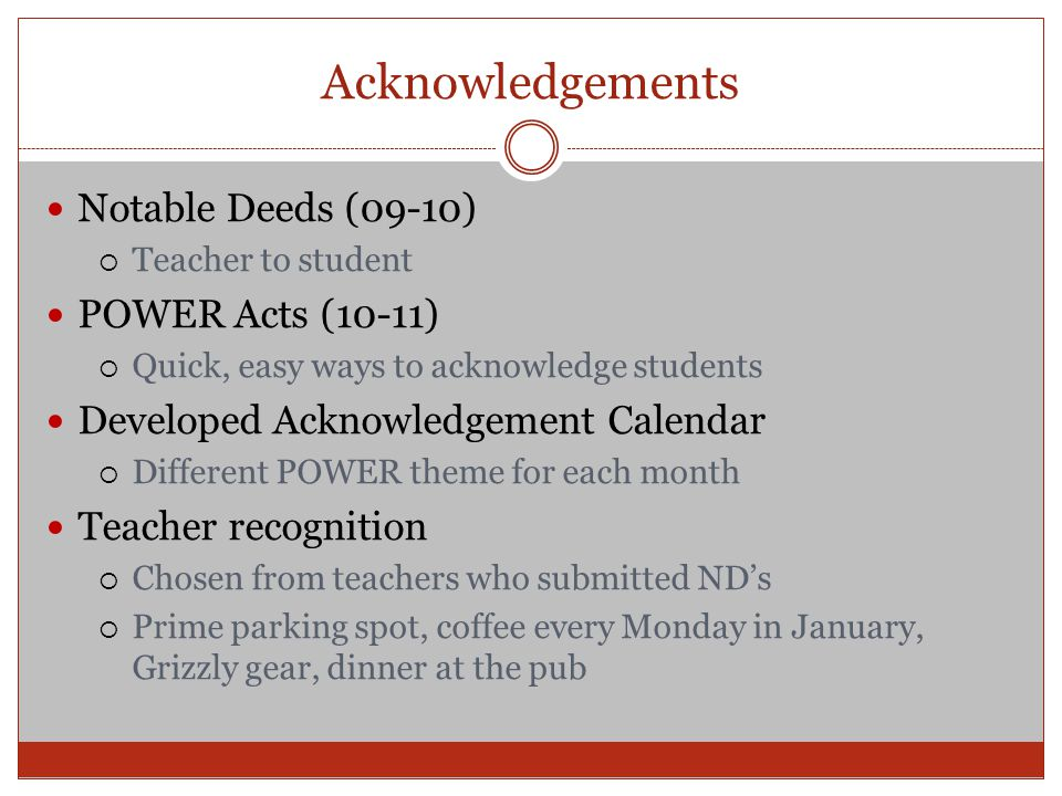 Acknowledgements Notable Deeds (09-10)  Teacher to student POWER Acts (10-11)  Quick, easy ways to acknowledge students Developed Acknowledgement Ca