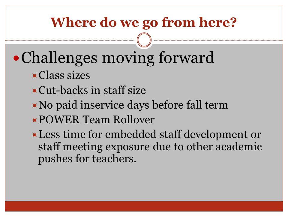 Where do we go from here? Challenges moving forward  Class sizes  Cut-backs in staff size  No paid inservice days before fall term  POWER Team Rol