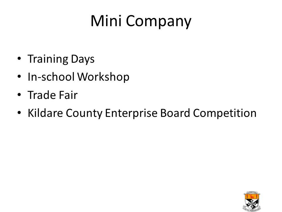 Mini Company Training Days In-school Workshop Trade Fair Kildare County Enterprise Board Competition
