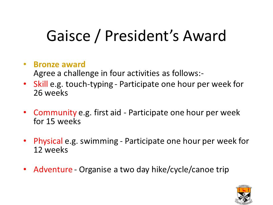 Gaisce / President's Award Bronze award Agree a challenge in four activities as follows:- Skill e.g. touch-typing - Participate one hour per week for