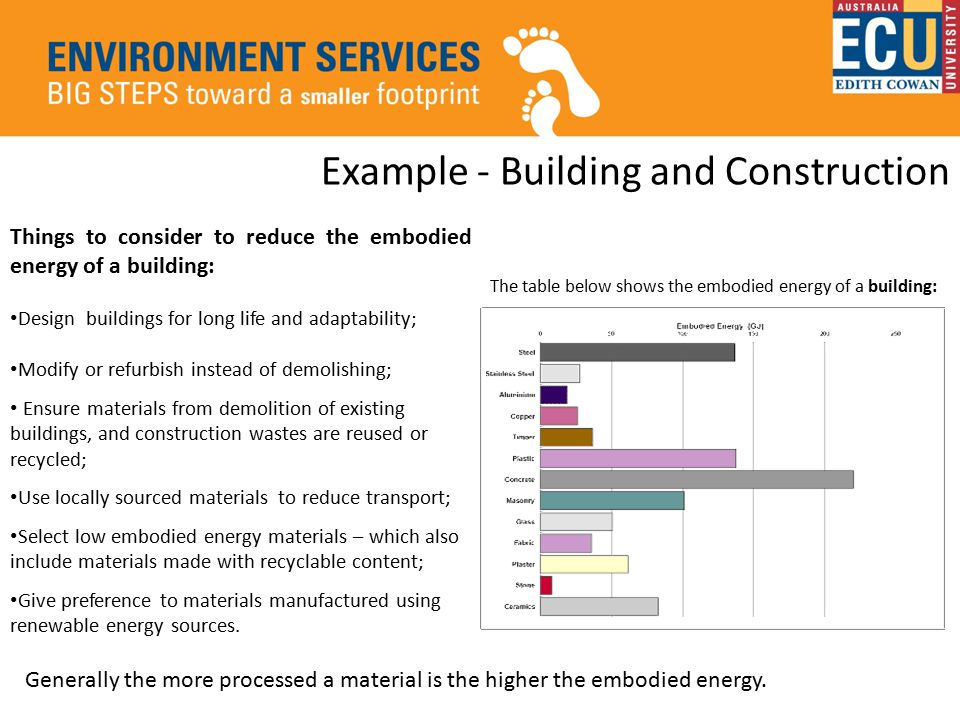 Example - Building and Construction Things to consider to reduce the embodied energy of a building: Design buildings for long life and adaptability; Modify or refurbish instead of demolishing; Ensure materials from demolition of existing buildings, and construction wastes are reused or recycled; Use locally sourced materials to reduce transport; Select low embodied energy materials – which also include materials made with recyclable content; Give preference to materials manufactured using renewable energy sources.