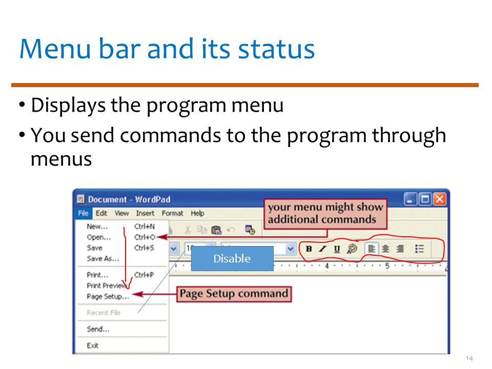 Menu bar and its status Displays the program menu You send commands to the program through menus 14 Disable