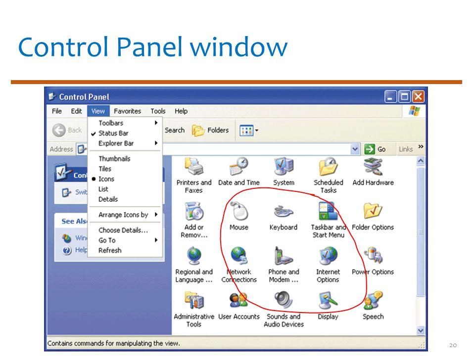 Control Panel window 20
