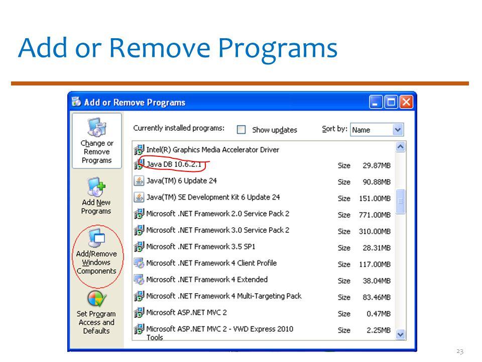 Add or Remove Programs 23