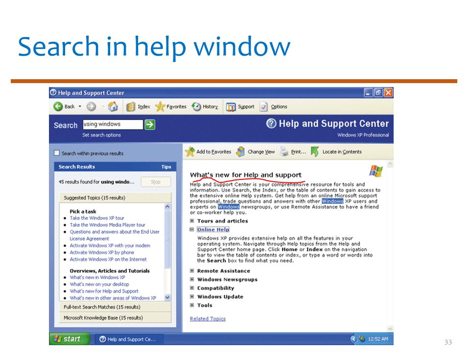 Search in help window 33