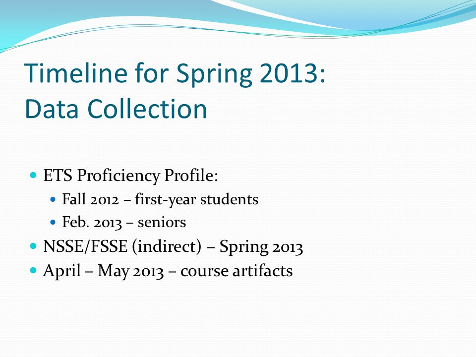 Timeline for Spring 2013: Data Collection ETS Proficiency Profile: Fall 2012 – first-year students Feb.
