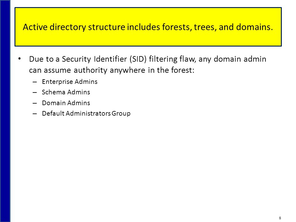 Active directory structure includes forests, trees, and domains.