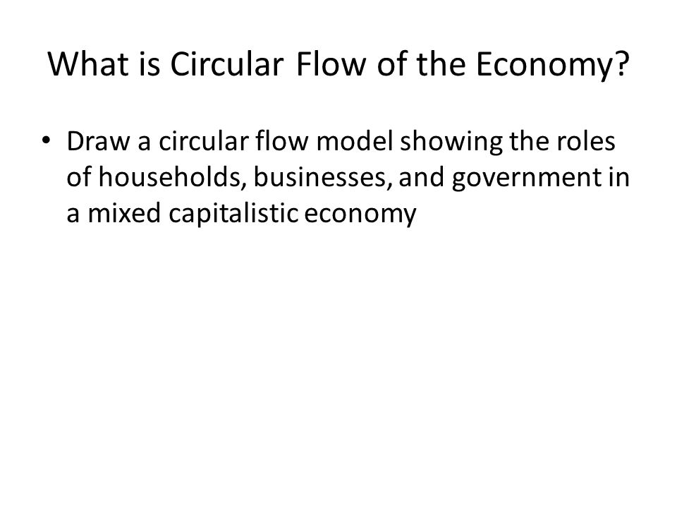 What is Circular Flow of the Economy? Draw a circular flow model showing the roles of households, businesses, and government in a mixed capitalistic e