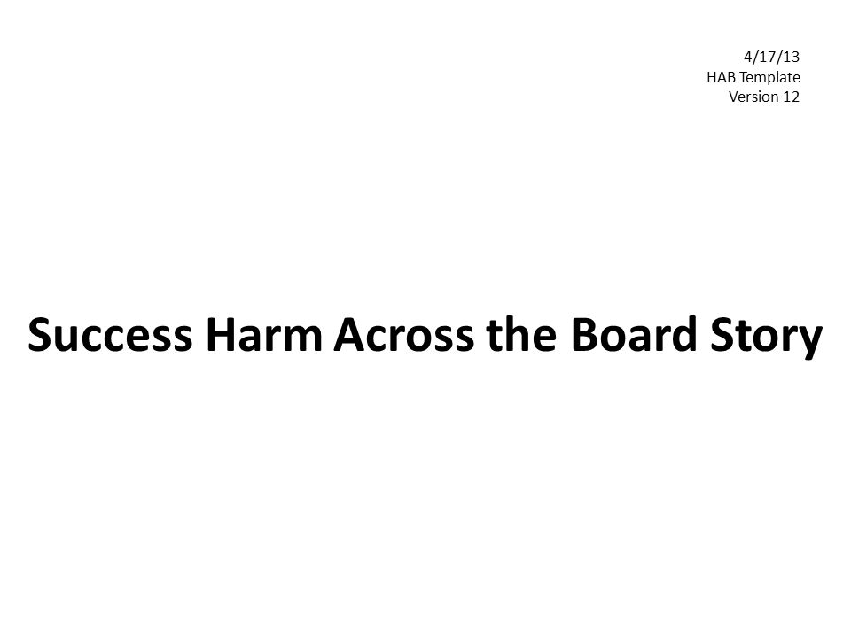 Success Harm Across the Board Story 4/17/13 HAB Template Version 12