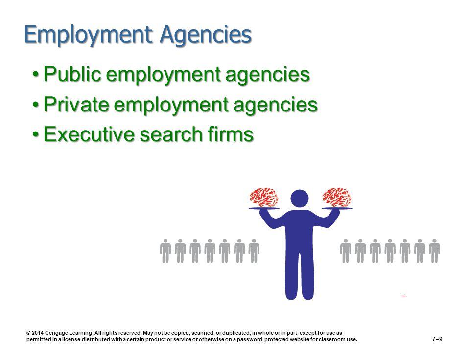 Employment Agencies Public employment agenciesPublic employment agencies Private employment agenciesPrivate employment agencies Executive search firmsExecutive search firms © 2014 Cengage Learning.