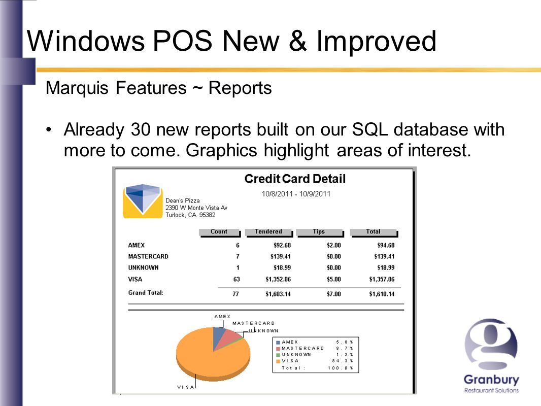 Windows POS New & Improved Marquis Features ~ Reports Already 30 new reports built on our SQL database with more to come.