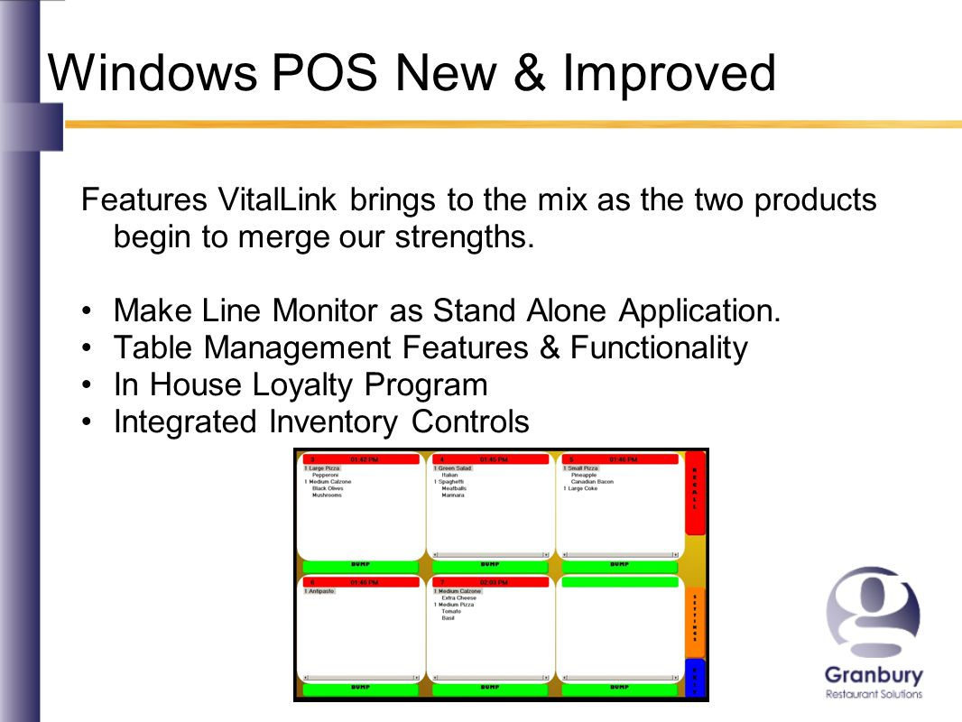 Windows POS New & Improved Features VitalLink brings to the mix as the two products begin to merge our strengths.