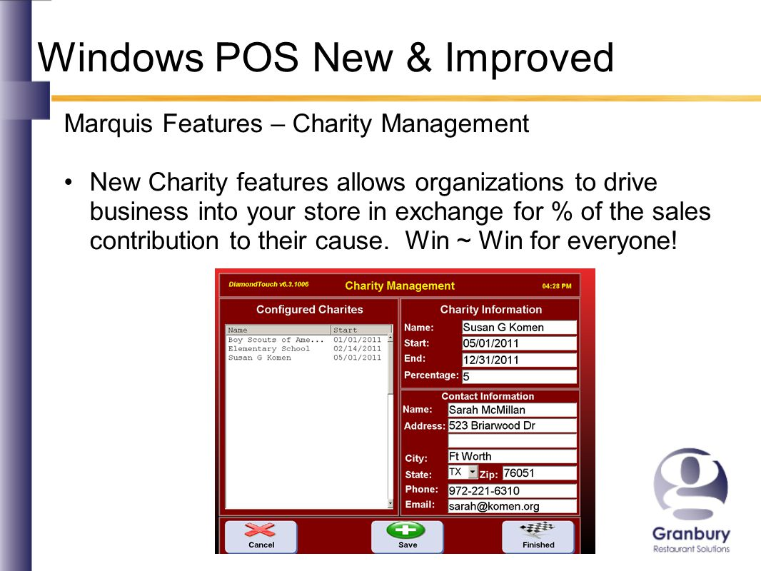 Windows POS New & Improved Marquis Features – Driver Management Delivery enhancements include driver drops, streamlined driver close procedures, built-in driver routing according to map grid, driver contact info when you need it fast!