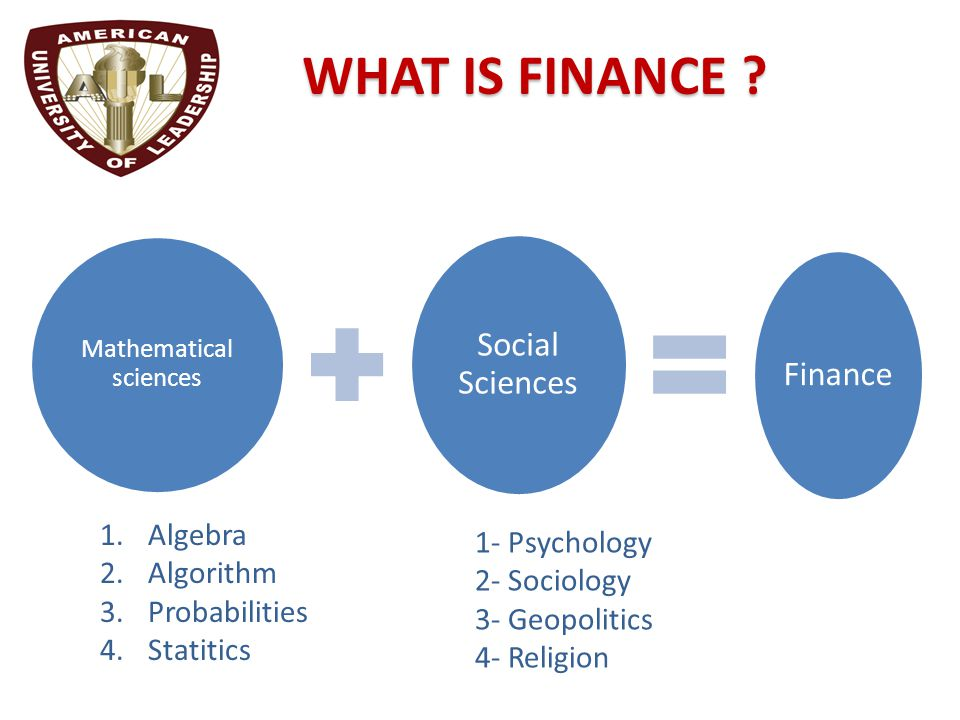Mathematical sciences Social Sciences Finance WHAT IS FINANCE .