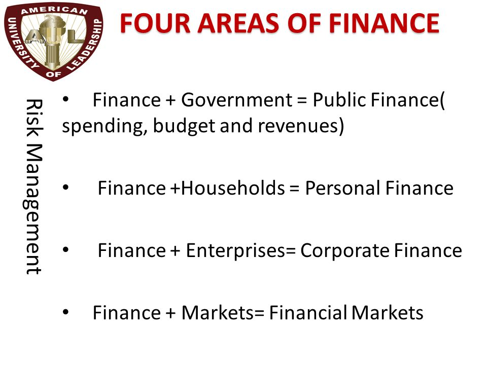 FOUR AREAS OF FINANCE Finance + Government = Public Finance( spending, budget and revenues) Finance +Households = Personal Finance Finance + Enterpris