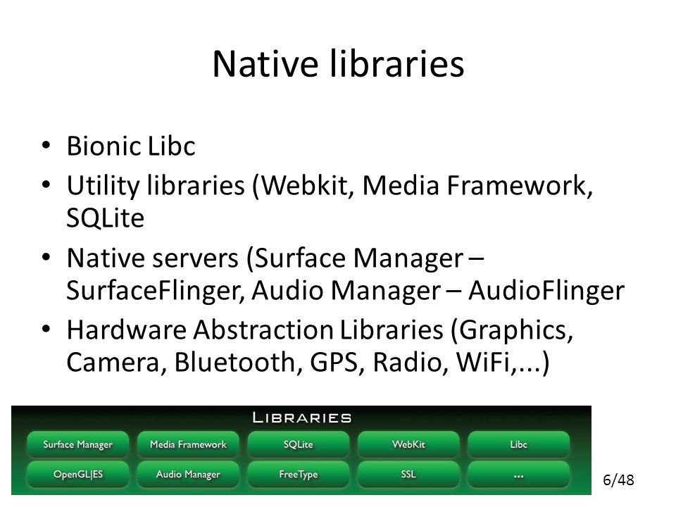 6/48 Native libraries Bionic Libc Utility libraries (Webkit, Media Framework, SQLite Native servers (Surface Manager – SurfaceFlinger, Audio Manager – AudioFlinger Hardware Abstraction Libraries (Graphics, Camera, Bluetooth, GPS, Radio, WiFi,...)