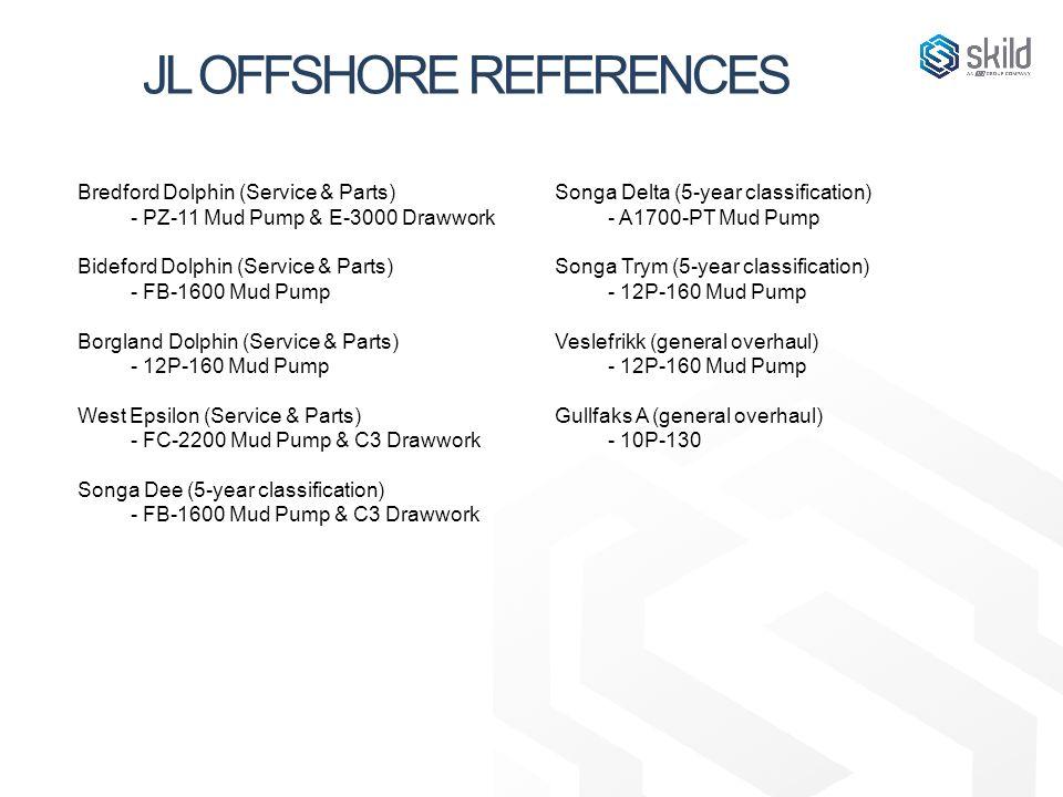 JL OFFSHORE REFERENCES Bredford Dolphin (Service & Parts) - PZ-11 Mud Pump & E-3000 Drawwork Bideford Dolphin (Service & Parts) - FB-1600 Mud Pump Bor