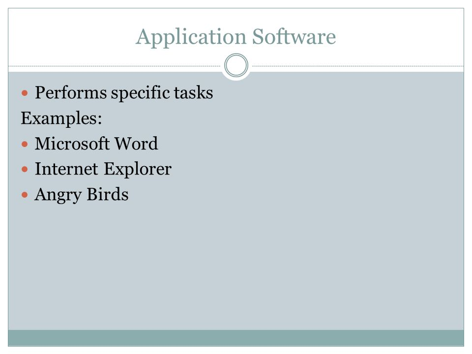 System Software Utilities - Used to optimize or maintain a computer Examples: Disk Defragmenter Screen Saver File Compression Others